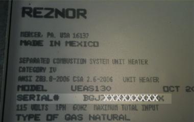 Look Up Number >> Serial Number Lookup Reznor
